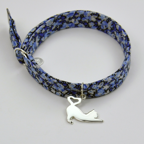 Charms Chat coeur sur bracelet Liberty