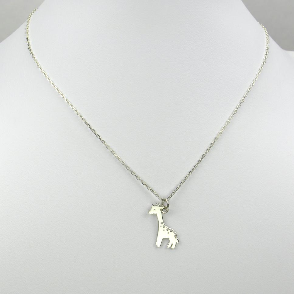 Girafe sur chaîne argent