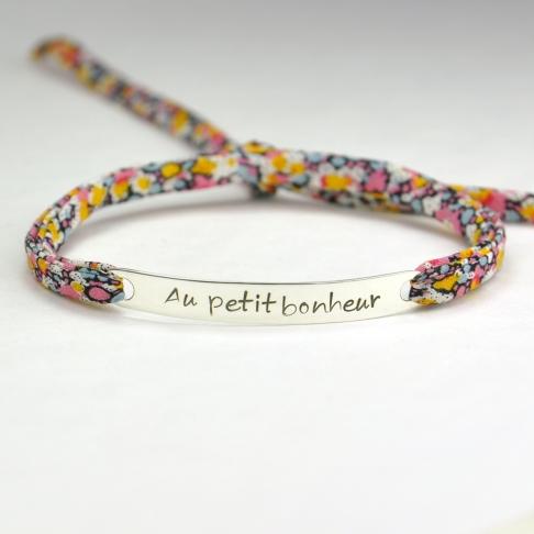 """Bracelet message """"Au petit bonheur"""""""