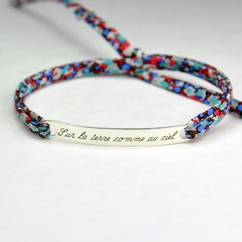 """Bracelet message """"Sur la terre comme au ciel"""""""