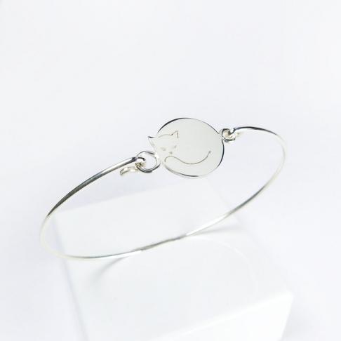 Chat rond sur bracelet jonc fin