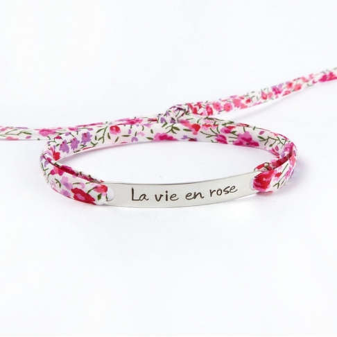 "Bracelet message ""La vie en rose"""