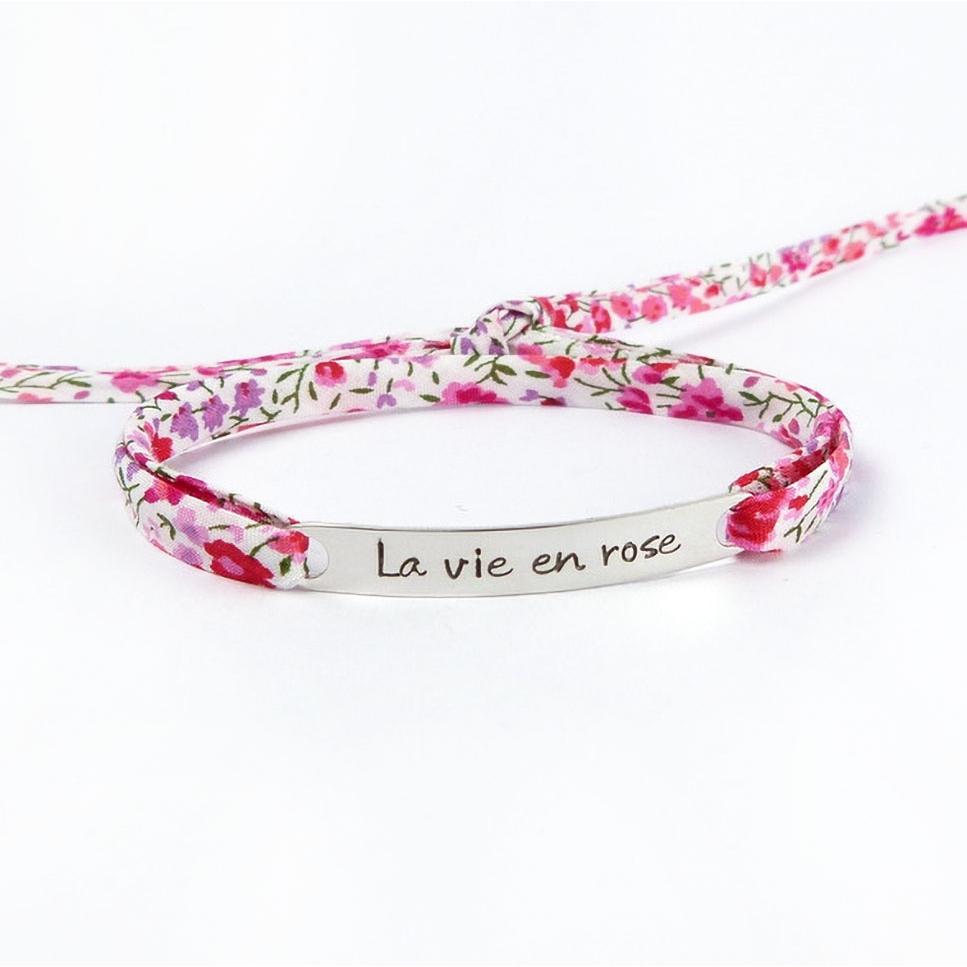 """Bracelet message """"La vie en rose"""""""