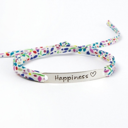 "Bracelet message ""Happiness"""